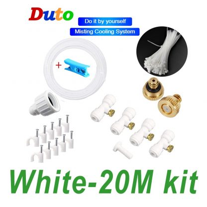 Free shipping DIY Outdoor Misting Cooling System Kit Greenhouse Garden Patio Waterring Irrigation Mister Line 7M-20M System